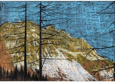 Technique à gratter, acrylique, pastel gras sur papier, 21x30 cm