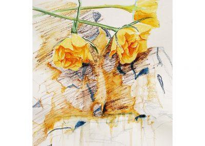 Technique mixte, crayon, pastel gras, neoncolor, 30x42 cm