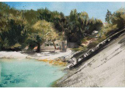 Technique mixte, aquarelle et pastel sec, 30x42 cm