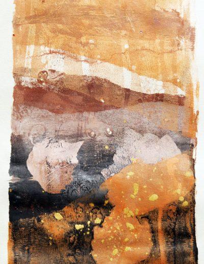 paysage abstrait realisè en monotype sur gelatine