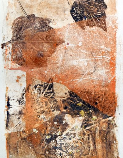 composition abstraite realisée en monotype sur gelatine