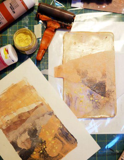 Derniere couche de peinture imprimée sur la composition
