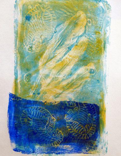 Monotype gel abstrait avec silhouette des plumes